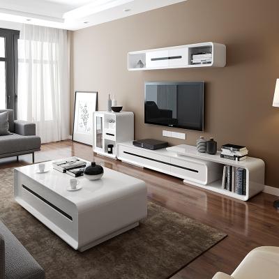阁贝尔GOEBEL 简约现代烤漆伸缩茶几电视柜组合小户型客厅组装家具白色方形茶桌