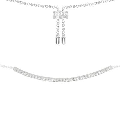 apm MONACO簡約鑲晶鉆一字925銀項鏈氣質時尚鎖骨鏈女士頸飾歐美風格AC2945OX