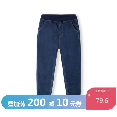 巴拉巴拉男童褲子兒童牛仔褲春裝新款童裝彈力長褲時尚印花男