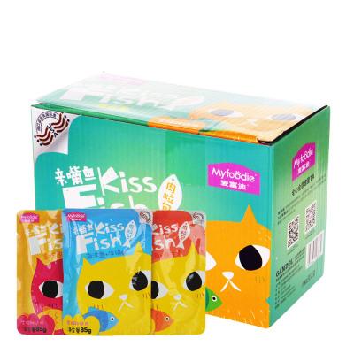 麥富迪貓罐頭麥富迪親嘴魚肉粒包85g*12整盒幼貓零食營養增肥濕糧