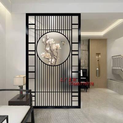 新中式入屏风隔断墙客厅卧室玄关酒店艺术磨砂玻璃现代简约装饰