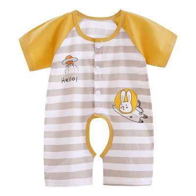 貝樂咿嬰兒短袖連體衣2夏季薄款爬爬服純棉封擋哈衣男女寶寶3個月連體哈衣