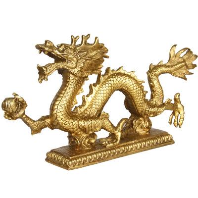 黃銅龍擺件工藝品風水青龍汗龍生肖銀龍貴相吉祥物家居辦公擺設