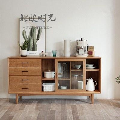 杞沐北欧实木餐边柜简约现代储物柜餐厅柜玻璃茶水柜展示柜备餐收纳柜