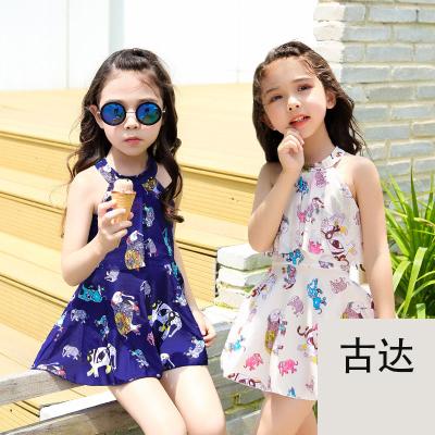 古達兒童泳衣女孩女童泳衣可愛大中小童韓國學生連體裙式平角游泳衣