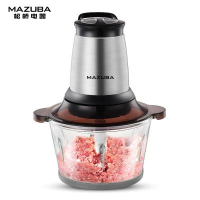 松橋絞肉機MBL-MG201W 家用切菜絞肉料理攪拌機 2L大容量加厚玻璃碗 純銅電機 雙檔一鍵操作 不銹鋼機身