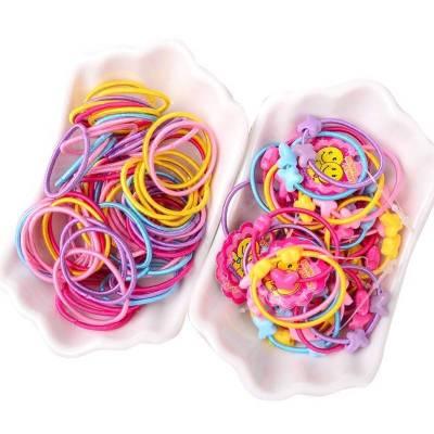 100根兒童頭繩發圈taoerj發飾女孩扎頭發橡皮筋彩色發繩頭飾夏季配飾