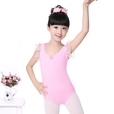 好貨兒童舞蹈服裝練功服芭蕾舞服連體形體服 女幼童背心夏考級服 粉色—開襠
