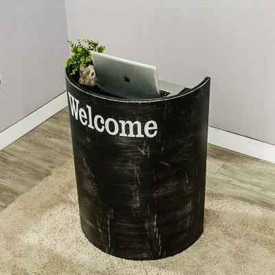 半弧形小型收銀臺小吧臺桌油桶創意接待臺烤漆服裝店簡約現代吧臺
