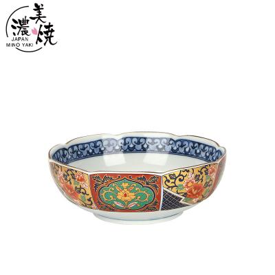 美濃燒日本進口有田窯陶瓷家用拉面碗湯碗大湯盆古伊萬里彩色碗(金彩古伊大碗)