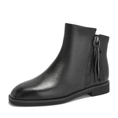 Teenmix/天美意冬商場同款黑色牛皮革方跟流蘇靴女短靴CGA42DD8