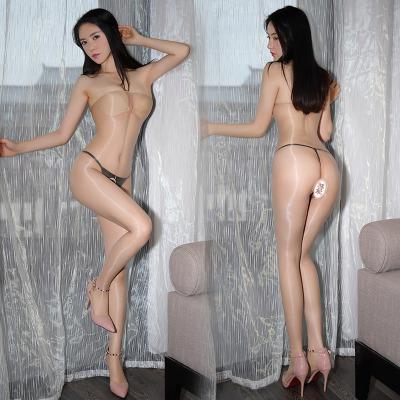 霏慕(Fee et moi)女式情趣絲襪 免脫開檔絲襪情趣內衣連體衣油亮透視性感連身襪絲襪蕾絲開檔連褲襪套裝女士7344