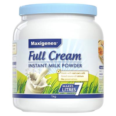 澳洲美可卓(Maxigenes)成人奶粉蓝胖子全脂奶粉1000g高钙速溶青少年学生儿童孕妇冲饮奶粉