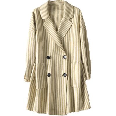 憨厚皇后雙面毛呢外套女士西裝領長款呢子大衣秋冬時尚新款