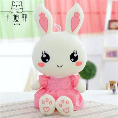 【品质优选】兔子毛绒玩具小白兔布娃娃爱睡觉抱枕公仔玩偶女孩儿童生日猫太子 粉色碎花兔 约50厘米