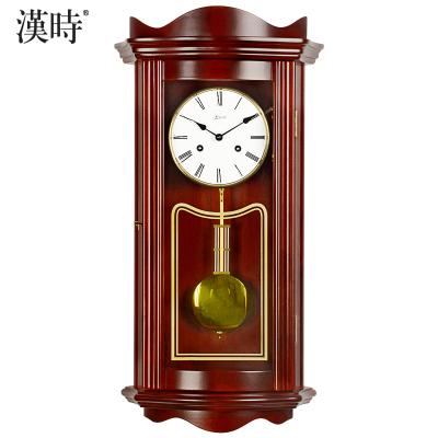 漢時(Hense)德國赫姆勒機芯實木機械掛鐘歐式客廳擺鐘掛表古典大氣報時鐘復古經典鐘表HP0123
