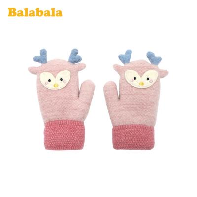 巴拉巴拉女童手套包指冬季新款加厚保暖加絨兒童可愛針織毛線男童