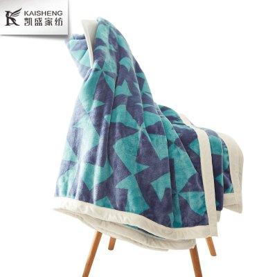 凯盛家纺 加厚舒适拼色珊瑚绒毯化纤办公室盖毯加厚法兰绒毯 200×230cm