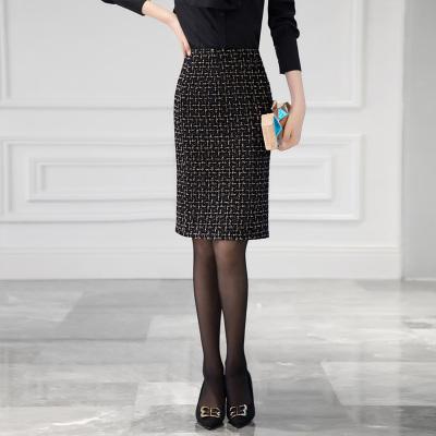 丝柏舍2019冬装女格子一步裙高腰修身显瘦及膝包臀半身裙S94B6128B