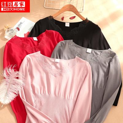 紅豆居家(Hodohome)新款女士秋衣秋褲女式薄款美體打底棉毛衫蕾絲緊身內衣套裝