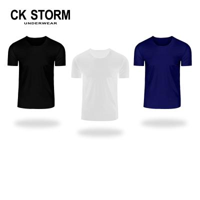 CK STORM 男士T恤打底衫冰絲U領速干汗衫運動T恤純色短袖3件裝