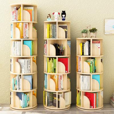 家装放心购简易儿童旋转书架省空间实木落地绘本架家用收纳置物创意360书柜简约新款