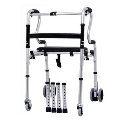 成人學步車老年人扶手站立架走路輔助器下肢康復訓練洗澡椅 四輪兩用帶皮革軟座款