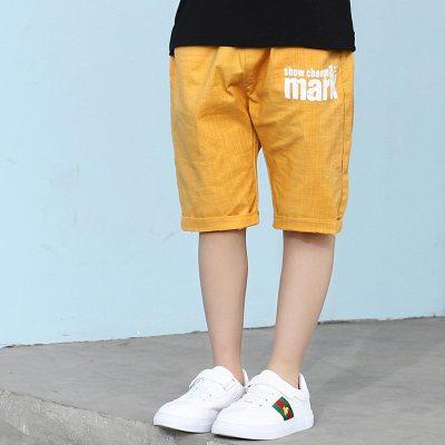 男童中裤夏季短裤薄款儿童宽松棉麻运动裤中大童透气五分裤子