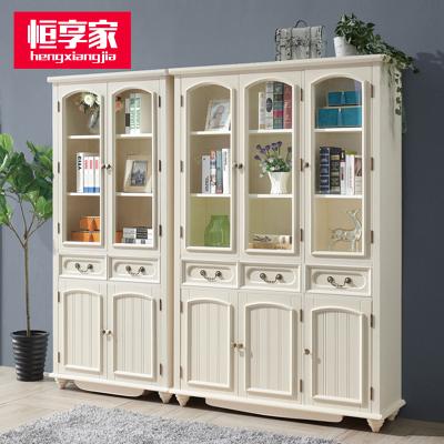 恒享家 书柜 美式乡村全实木书柜置物架带门落地简约书架组合办公室客厅玻璃门白色 SG#501