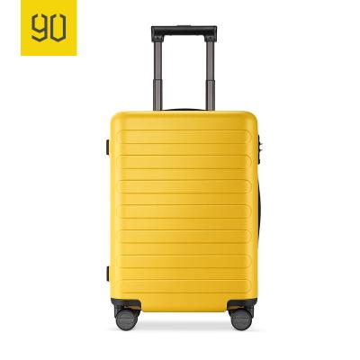 90分商旅兩用旅行箱靜音萬向輪商務登機行李箱子 男女密碼拉桿箱 櫻草黃 20寸