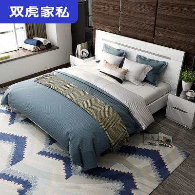 双虎家私床 主卧双人床1.8米现代简约经济型板式床1.5m床16H1