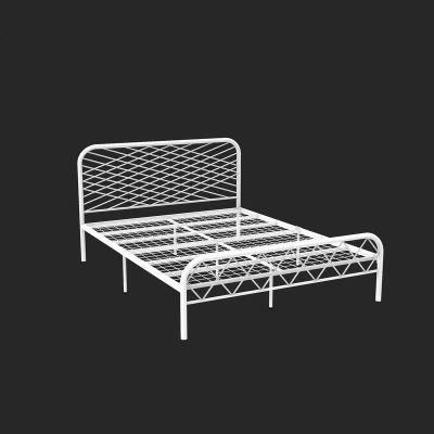 北欧ins网红风斯黛拉金色双人铁床极简设计师1.8米床铁艺床成人 1500mm*1900mm_白色(网片板