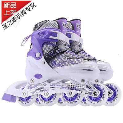 紫色閃光溜冰鞋成人旱冰鞋大童直排輪滑兒童全套裝男女初學者可調