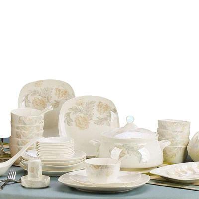 碗碟套装陶瓷器骨瓷餐具韩式创意景德镇家用碗盘餐具套装 圆形56头标准配宫廷煲