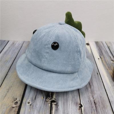 热卖秋冬款儿童保暖帽子宝宝灯芯绒盆帽1--3岁可爱恐龙帽男女童卡通帽