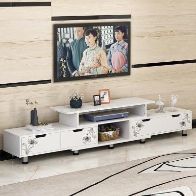 腾煜雅轩 简约现代可伸缩小户型客厅家具 人造板式 仿实木卧室北欧电视机柜茶几组合地柜子 视听柜 电视柜