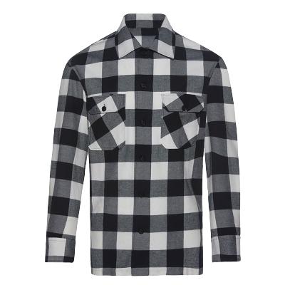 碼尚定制MatchU全棉襯衫外套 購買后會發送量體短信鏈接 2020春秋新款男士休閑格紋外套 黑白格紋