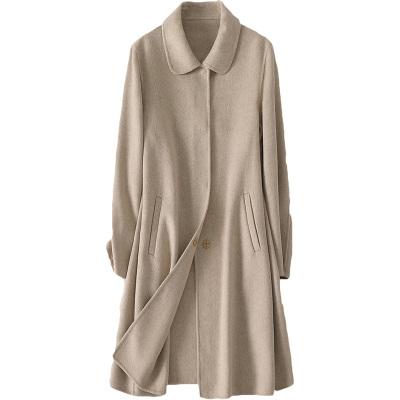 憨厚皇后全羊毛雙面毛呢外套女士春秋時尚新款長款呢子大衣
