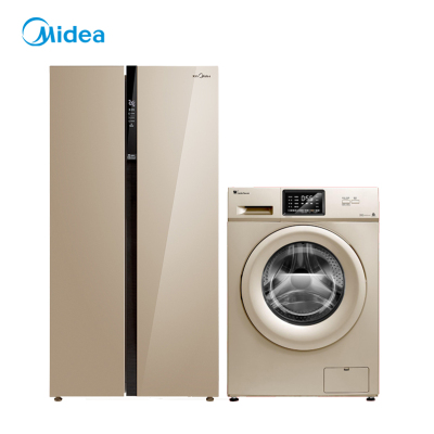 【套餐】美的冰箱BCD-621WKPZM(E)&小天鹅10公斤滚筒洗衣机TG100VN02DG5 冰箱洗衣机两件套