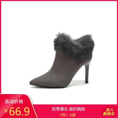 秋冬靴 新款高跟絨面尖頭兔毛毛細跟裸靴1017605201