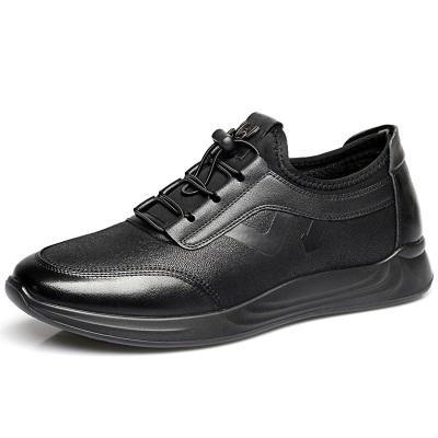 強人3515休閑鞋男士運動鞋牛皮舒適單鞋系帶款透氣商務鞋男單鞋