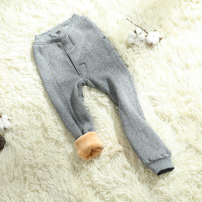 红豆居家新款冬季女男童保暖裤加绒加厚单条磨毛秋裤男孩女孩学生棉毛裤睡裤