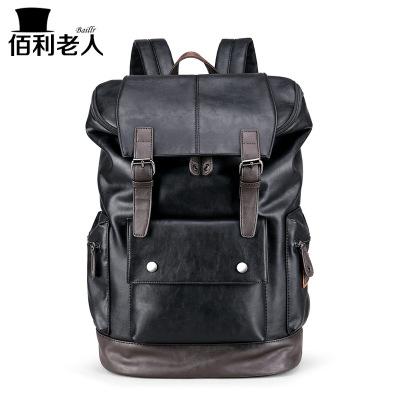 佰利老人(BaiLiLaoRen)新款雙肩包男書包雙肩背包PU包時尚男包大學生書包旅行包男士雙肩包運動休閑包黑6201