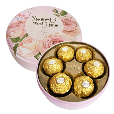費列羅(Ferrero Rocher)費列羅榛果威化巧克力圓形鐵盒裝6粒禮盒裝喜糖