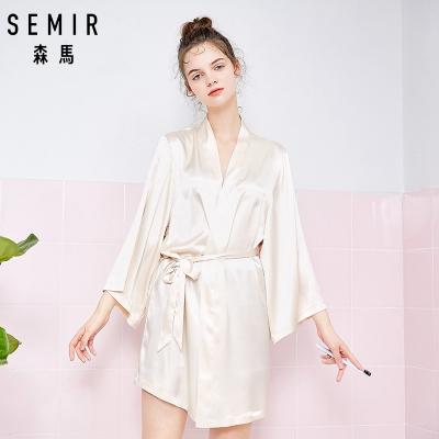 森馬睡衣女夏季薄款大碼性感冰絲家居服日式和服浴袍休閑可外穿
