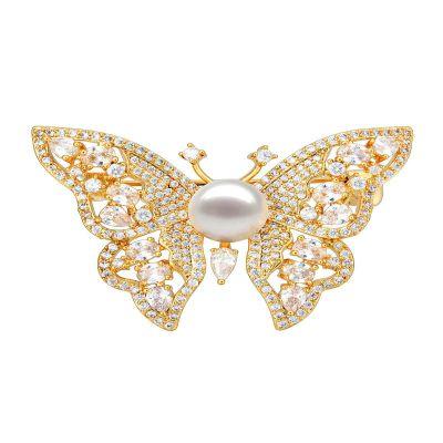 古莉(COULISSE)蝴蝶珍珠胸針女士鍍金高檔豪華鑲嵌天然珍珠大衣配飾胸針P0201