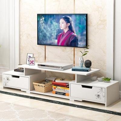 腾煜雅轩 客厅家具人造板现代简约白色欧式液晶地柜可拉伸小户型茶几电视柜组合套装白框欣欣向荣简约大气