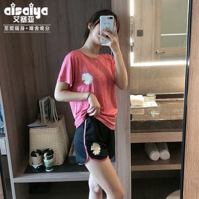 艾塞亞睡衣女士夏季短袖短褲家居服薄款運動風居家服新款兩件套裝