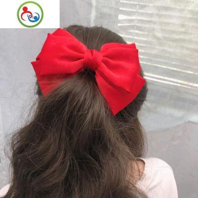 新款韓國甜美紅色三層大蝴蝶結發夾可愛馬尾夾彈簧夾少女頂夾發飾 JING PING水晶頭飾