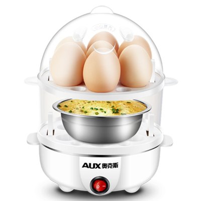 奥克斯(AUX)煮蛋器AUX-108B 防干烧保护 自动断电 大容量 蒸蛋器迷你煮鸡蛋羹机小型家用早餐神器 双层